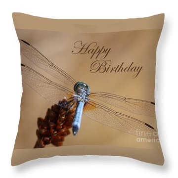 Dragonfly Birthday Card Throw Pillow by Carol Groenen