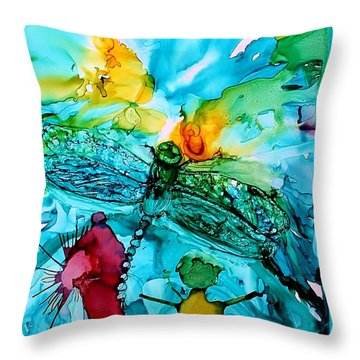 Dragonfly Blues Throw Pillow