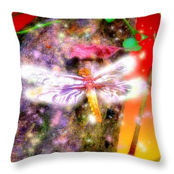 Throw Pillow featuring the digital art Dragonfly by Daniel Janda