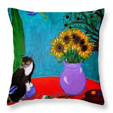 Dragonfly Days In Provence Throw Pillow