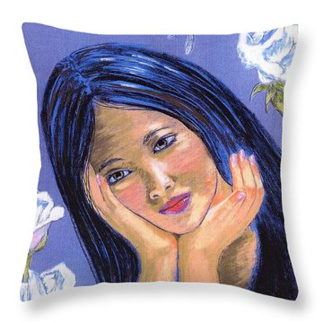 Throw Pillow featuring the painting Dragonfly Dreamer by Jane Small