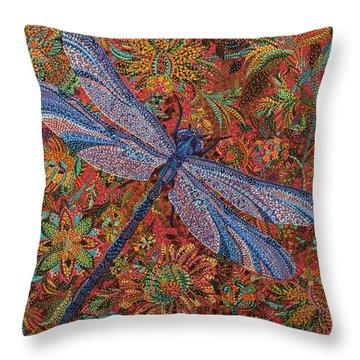 Dragonfly Throw Pillow by Erika Pochybova