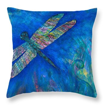 Dragonfly Flying High Throw Pillow by Denise Hoag