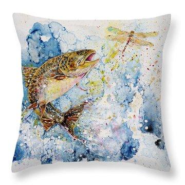 Dragonfly Hunter Throw Pillow by Zaira Dzhaubaeva