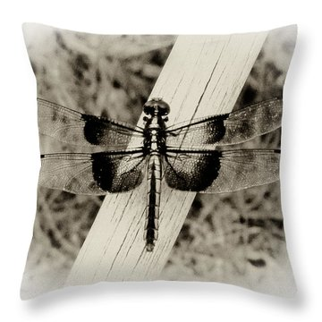Dragonfly In Sepia Throw Pillow