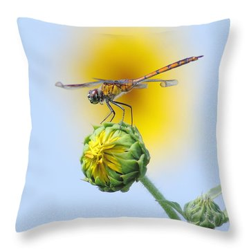 Dragonfly In Sunflowers Throw Pillow