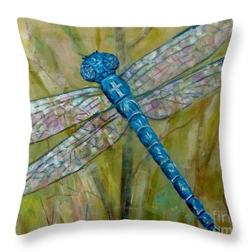 Dragonfly Throw Pillow by Lou Ann Bagnall