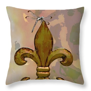 Dragonfly On Fleur De Lis Throw Pillow