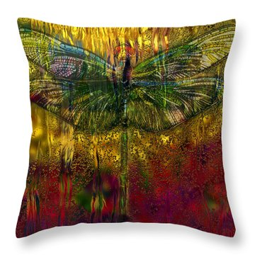 Dragonfly - Rainy Day  Throw Pillow by Jack Zulli