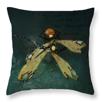 Dragonfly Romance Throw Pillow