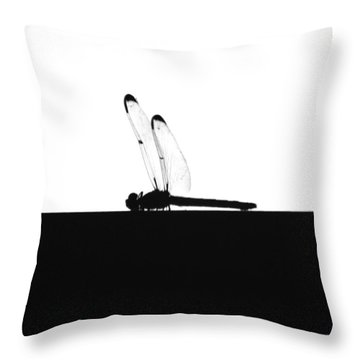 Dragonfly Silhouette Throw Pillow by Maggy Marsh