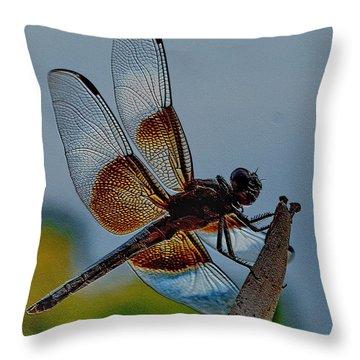 Throw Pillow featuring the digital art Dragonfly Sky Print by Visual Artist Frank Bonilla