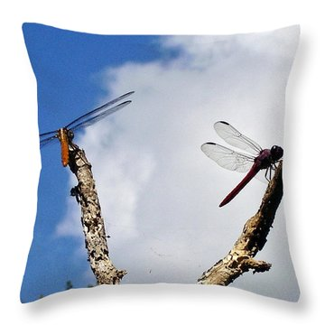 Throw Pillow featuring the photograph Dragonflys In My Backyard by Chris Mercer