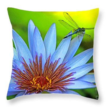 Dragonlily 2 Throw Pillow by Larry Nieland