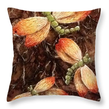 Throw Pillow featuring the painting Dragons 5 by Megan Walsh