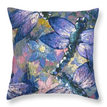 Throw Pillow featuring the painting Dragons  by Megan Walsh