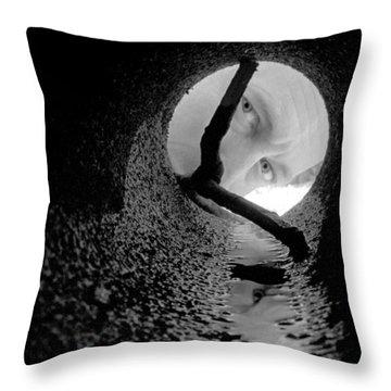 Drain Pipe - Artist Self Portrait Throw Pillow by Gary Heller