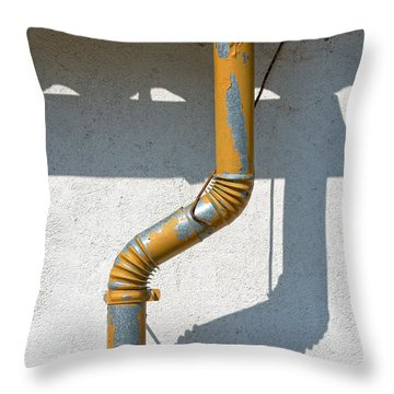 Drainpipe White Structured Wall  Throw Pillow