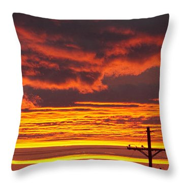 Drama And A Telephone Pole Throw Pillow by Elvira Butler