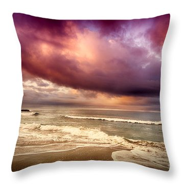 Throw Pillow featuring the photograph Dramatic Beach by David Millenheft