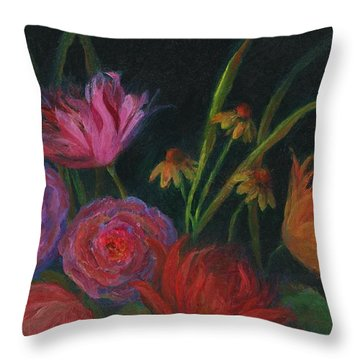 Dramatic Floral Still Life Painting Throw Pillow