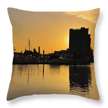 Throw Pillow featuring the photograph Dramatic Golden Sunrise Baltimore Inner Harbor  by Marianne Campolongo