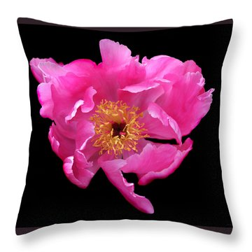 Dramatic Hot Pink Peony Flower Throw Pillow by Jennie Marie Schell