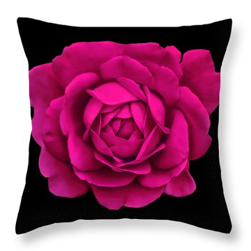 Dramatic Hot Pink Rose Portrait Throw Pillow