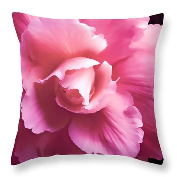 Dramatic Pink Begonia Floral Throw Pillow by Jennie Marie Schell