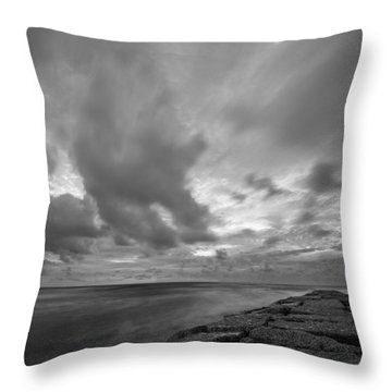 Dramatic Skies Over Galveston Jetty Throw Pillow