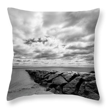 Dramatic Sky At Penfield Jetty Throw Pillow