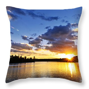Dramatic Sunset At Lake Throw Pillow by Elena Elisseeva
