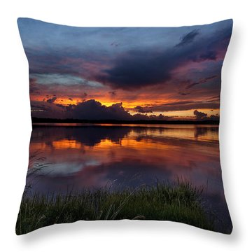 Dramatic Sunset At The Lake Throw Pillow