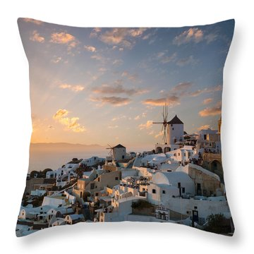 Dramatic Sunset Over The Windmills Of Oia Village In Santorini Throw Pillow