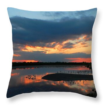 Throw Pillow featuring the photograph Dramatic Sunset by Rosalie Scanlon