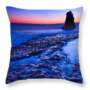 Dramatic Sunset View Of A Sea Stack In Davenport Beach Santa Cruz. Throw Pillow by Jamie Pham