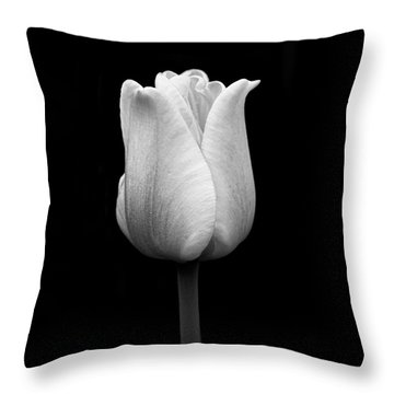 Dramatic Tulip Flower Black And White Throw Pillow
