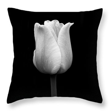 Dramatic Tulip Flower Black And White Throw Pillow by Jennie Marie Schell