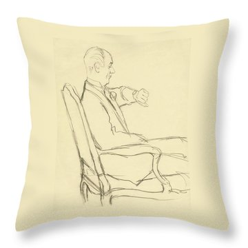 Drawing Of Man Looking At His Watch Throw Pillow