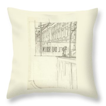 Drawing Of A Bar And Front Window Of Hotel Du Rhin Throw Pillow