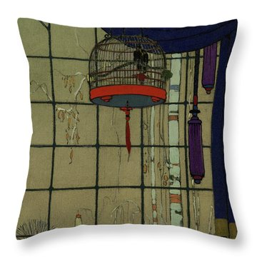 Drawing Of A Bid In A Cage In Front Of A Window Throw Pillow