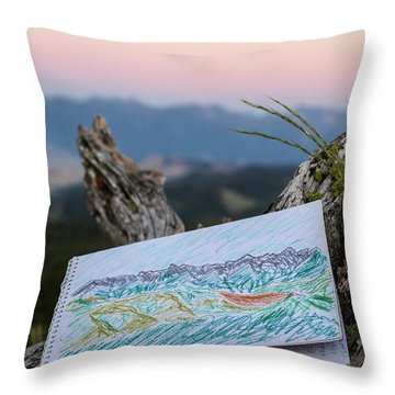 Drawing Of Montanas Rocky Mountains Throw Pillow