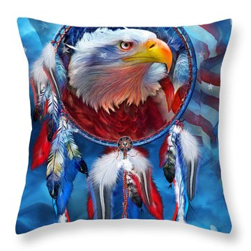 Dream Catcher - Eagle Red White Blue Throw Pillow