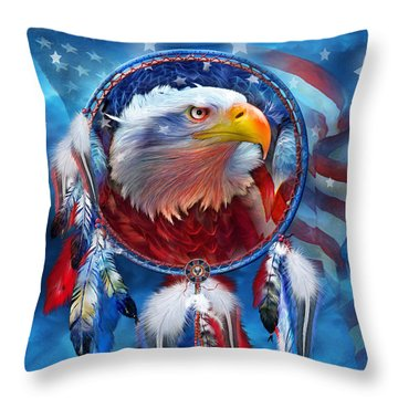 Throw Pillow featuring the mixed media Dream Catcher - Eagle Red White Blue by Carol Cavalaris