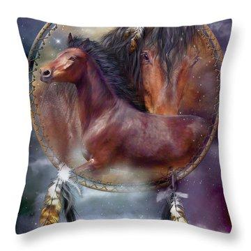 Dream Catcher - Spirit Horse Throw Pillow
