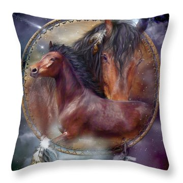 Dream Catcher - Spirit Horse Throw Pillow