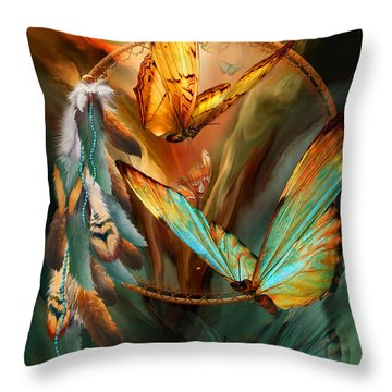 Dream Catcher - Spirit Of The Butterfly Throw Pillow by Carol Cavalaris