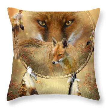 Dream Catcher- Spirit Of The Red Fox Throw Pillow