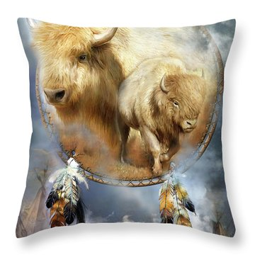 Dream Catcher - Spirit Of The White Buffalo Throw Pillow