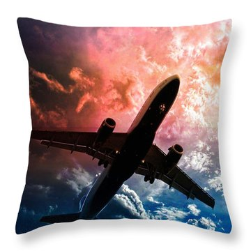 Airplanes Throw Pillow featuring the photograph Dream Flight by Aaron Berg